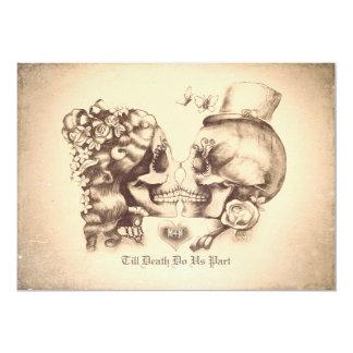 Día de los pares del cráneo de las invitaciones invitación 12,7 x 17,8 cm