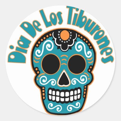 Dia De Los Tiburones.png Pegatina Redonda