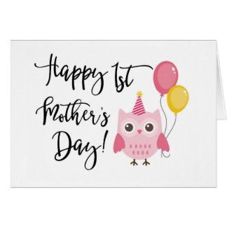 Día de madre feliz del búho rosado lindo el 1r tarjeta de felicitación