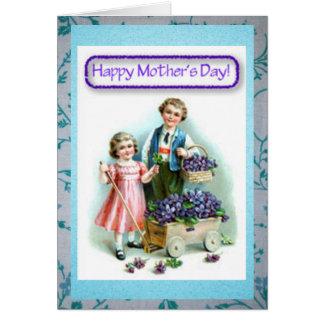 Día de madres feliz del hijo y de la hija del vint felicitacion