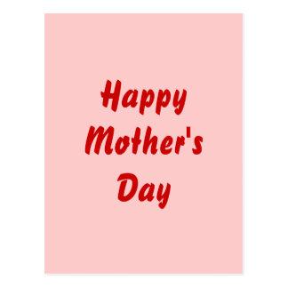 Día de madres feliz. Rojo y rosa. Personalizado Postal