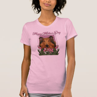Día de madres - tulipanes rosados - collie - camisetas