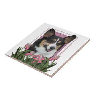 Día de madres - tulipanes rosados - Corgi - Owen Azulejo Ceramica