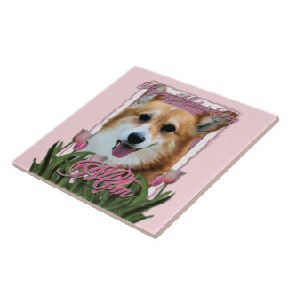 Día de madres - tulipanes rosados - Corgi - Owen Tejas Ceramicas