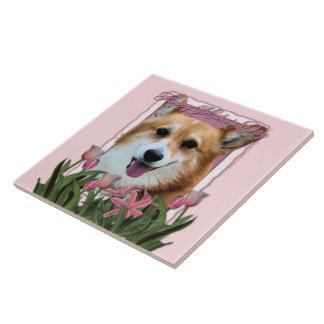 Día de madres - tulipanes rosados - Corgi - Owen Azulejos Cerámicos