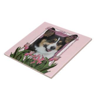 Día de madres - tulipanes rosados - Corgi - Owen Azulejo