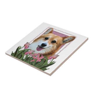 Día de madres - tulipanes rosados - Corgi - Owen Azulejo Cerámica