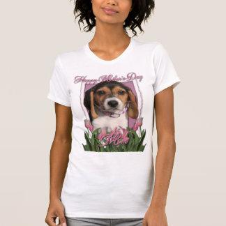 Día de madres - tulipanes rosados - perrito del be camiseta