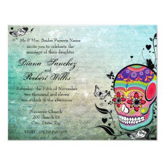 Día de Muerte del cráneo muerto del azúcar de Invitación 10,8 X 13,9 Cm