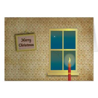 Día de navidad en la posición en cuclillas tarjeta de felicitación