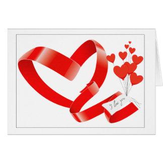 día de San Valentín de las cintas del corazón Tarjeta De Felicitación