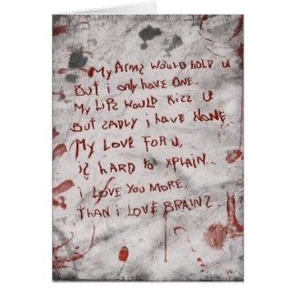 día de San Valentín del zombi Tarjeta De Felicitación