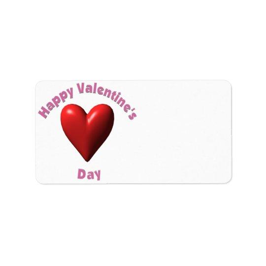 Día de San Valentín feliz Etiquetas De Dirección