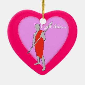 Día de San Valentín rojo del individuo de la toga Adorno Navideño De Cerámica En Forma De Corazón