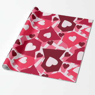 Día de San Valentín rosado y rojo de los corazones Papel De Regalo