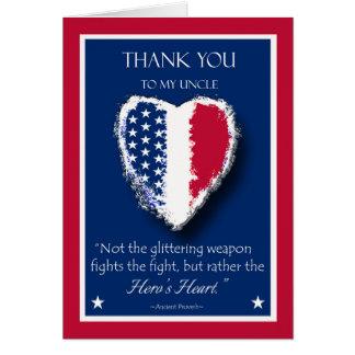 Día de veteranos feliz para un tío, el corazón del tarjeta