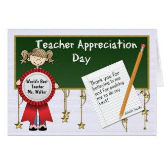 Día del aprecio del profesor personalizado tarjeta de felicitación