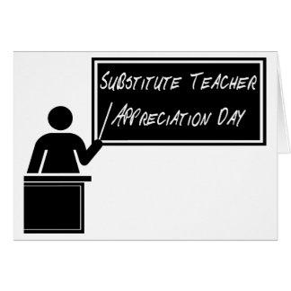Día del aprecio del profesor sustituto tarjeta de felicitación
