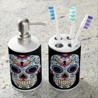 Día del azul muerto del cráneo del azúcar vaso para cepillos de dientes