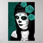 Día del chica muerto con los rosas del azul del tr impresiones