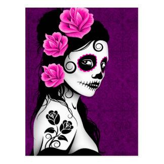 Día del chica muerto del cráneo del azúcar - postal