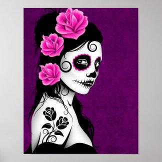 Día del chica muerto del cráneo del azúcar - púrpu poster