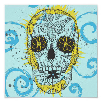 Día del diseño cómico del tatuaje del cráneo muert póster
