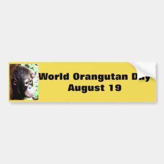 Día del orangután del mundo pegatina para coche
