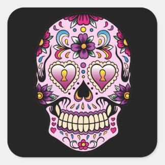 Día del pegatina muerto del rosa del cráneo del