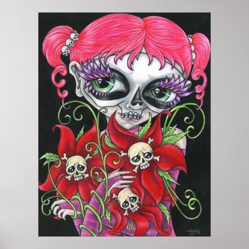 Día del poster del arte de TanDoll de los cráneos