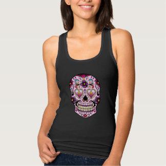 Día del rosa muerto del cráneo del azúcar camiseta con tirantes