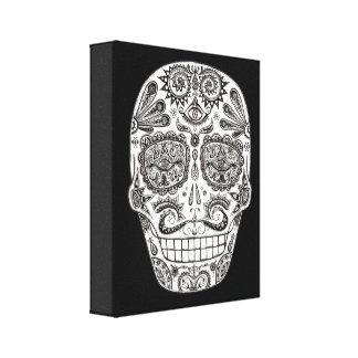 Día detallado del arte muerto del cráneo en lona impresion de lienzo