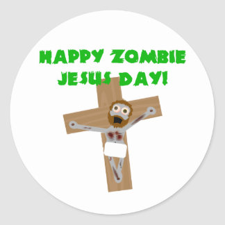 Día feliz de Jesús del zombi Etiquetas Redondas