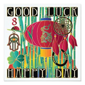 Día feliz de la buena suerte del Mah Jongg Invitación 13,3 Cm X 13,3cm