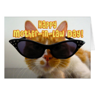 Día feliz de la suegra - gato fresco con las gafas tarjeta de felicitación