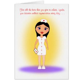 Día feliz de las enfermeras a un amor, enfermera tarjeta pequeña