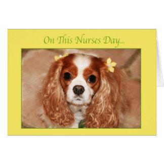 Día feliz de las enfermeras con rey arrogante dulc tarjeta de felicitación
