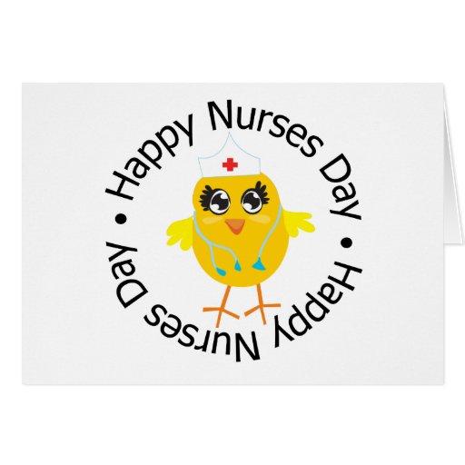 Día feliz de las enfermeras del diseño circular felicitación