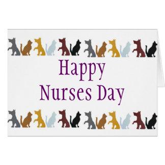 Día feliz de las enfermeras para los gatos y los p tarjeta