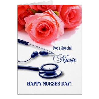 Día feliz de las enfermeras. Tarjeta de felicitaci