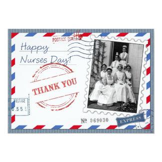 Día feliz de las enfermeras. Tarjetas planas del Invitación 12,7 X 17,8 Cm