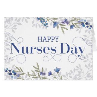 Día feliz de las enfermeras - texto y flores de tarjeta de felicitación