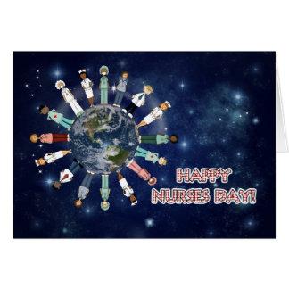 Día feliz de las enfermeras todos nosotros tarjeta de felicitación