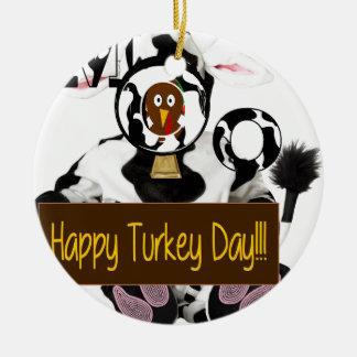 Día feliz de Turquía Adorno Navideño Redondo De Cerámica