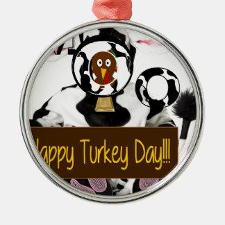 Día feliz de Turquía Adorno Navideño Redondo De Metal