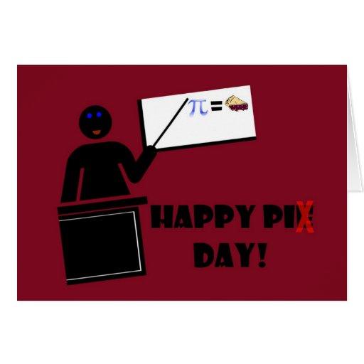 Día feliz del pi con el profesor en el whiteboard tarjetón