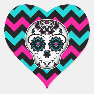 Día femenino lindo del corazón muerto del cráneo pegatina en forma de corazón