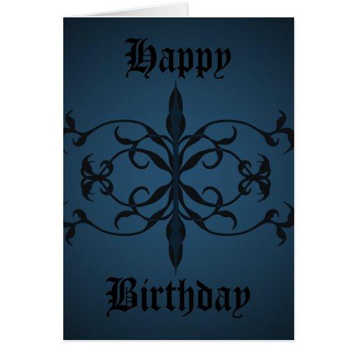 Día gótico azul de lujo del cumpleaños a personali tarjeta