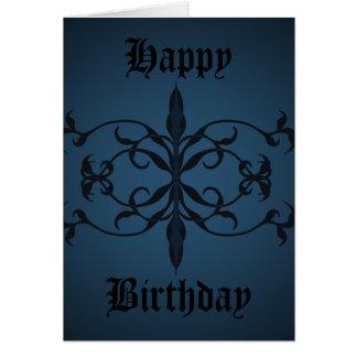 Día gótico azul de lujo del cumpleaños a tarjeta de felicitación