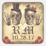 Día gótico de los pares del cráneo de pegatinas calcomanías cuadradass